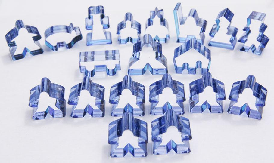 Carcassonne Set of 19 Transparent Blue Meeples